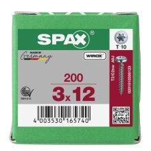 SPAX Halbrundkopf T-STAR plus 4CUT Vollgewinde WIROX A3J  3x12 - 200 Stk