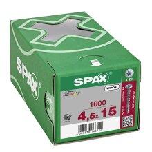 SPAX Halbrundkopf T-STAR plus 4CUT Vollgewinde WIROX A3J  4,5x15  -  1000 Stk