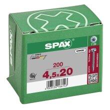 SPAX Halbrundkopf T-STAR plus 4CUT Vollgewinde Galvanisch blank verzinkt A2J  4,5x20  -  200 Stk