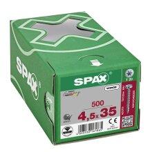 SPAX Halbrundkopf T-STAR plus 4CUT Vollgewinde Galvanisch blank verzinkt A2J  4,5x35  -  500 Stk