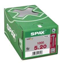 SPAX Halbrundkopf T-STAR plus 4CUT Vollgewinde Galvanisch blank verzinkt A2J  5x20  -  1000 Stk