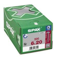 SPAX Halbrundkopf T-STAR plus 4CUT Vollgewinde Galvanisch blank verzinkt A2J  6x20  -  500 Stk