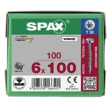SPAX Halbrundkopf T-STAR plus 4CUT Teilgewinde Galvanisch blank verzinkt A2J  6x100  -  100 Stk
