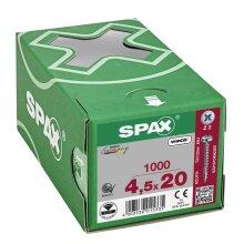 SPAX Halbrundkopf Kreuzschlitz Z 4CUT Vollgewinde WIROX A3J  4,5x20  -  1000 Stk