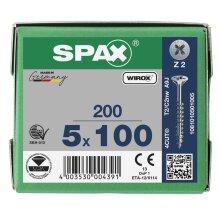 SPAX Senkkopf Kreuzschlitz Z - Teilgewinde WIROX A3J  PZ2  -  5x100  -  200 Stk