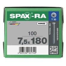 SPAX-RA Flachsenkkopf T-STAR plus Vollgewinde WIROX A3J  7,5x180 - 100 Stk